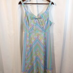 Modcloth Pastel V neck bow fit and flare dress. 1x